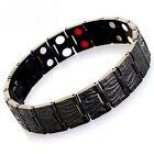 1Mens Magnetic BIO Energy S/Steel Health Bracelet 4 in 1 Double Row Black Emboss