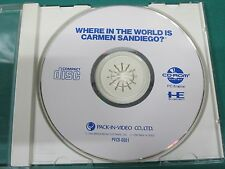 PCEngine CD -- WHERE IN THE WORLD IS CARMEN SANDIEGO? no manual -- JAPAN. 11302