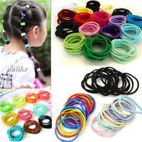 100PCS Kids Girl Elastic Rubber Hair Ties Band Rope Ponytail Holder Scrunchie