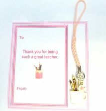 Thank You Gift for Teacher End Term Pen Pot Phone Charm Gift card in gift bag