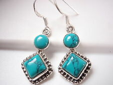 Turquoise with Silver Dot Accents 925 Sterling Silver Dangle Earrings Square