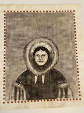 George Twok Aden Ahgupuk Eskimo ink illustration on sealskin