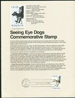USPS 1979 First Day Issue Souvenir Page, Seeing Eye Dogs Commemorative