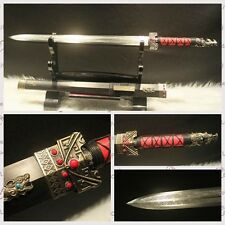 """Hand Forge Chinese Sword """"Han Jian""""(劍) High Carbon Steel Alloy Fitting Sharp--B"""