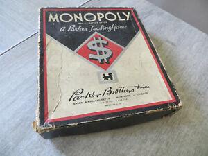 ancien monopoly parker brothers salem,massachusetts,année 30,incomplet