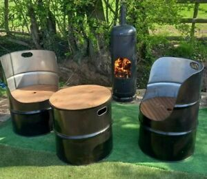 Oil Drum Seats/Chairs & Tables Outdoor Furniture Garden Patio Home Bar Man Cave