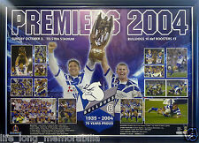 CANTERBURY BULLDOGS NRL PREMIERS 2004 POSTER FRAMED AND FULLY GLASSED