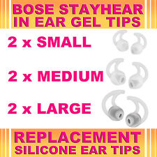 6x Silicone Replacement S M L Ear Gel Tips for Bose StayHear Earphone Headphone