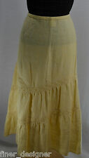 NWT VTG DANA BUCHMAN DB LIFE lemon chic maxi linen long skirt lace boho XL $250