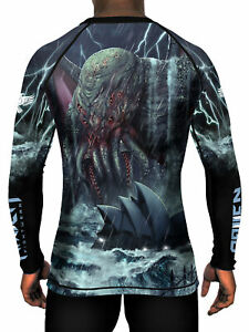 Raven Fightwear Men's Cthulhu Rises Rash Guard MMA BJJ Black