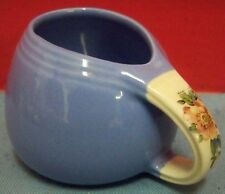 Vintage Hall Pottery Rose Parade Sani Grid Open Sugar Bowl With Handle Blue Pink