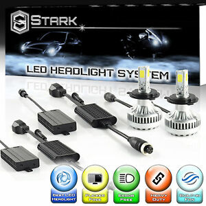 LED 90W 9000LM 6000K 6K White 3-Sided Headlight Kit Dual Hi / Lo -H4 HB2 9003