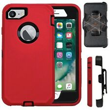 iPhone 7 & 7 Plus Shockproof Cover (Belt Clip Fits Otterbox Defender ) Red Black