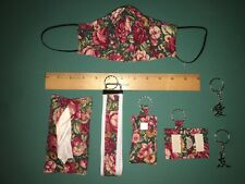 Roses Burgundy Flower Cotton Fabric Travel Tissue Pouch Holder Set