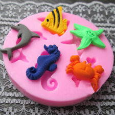 SEA ANIMALS FISH Silicone Fondant Cake Topper Mold Mould Chocolate Candy Baking