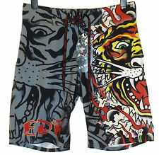 Bnwt Authentic Men's Ed Hardy Board Swim Surf Shorts Burning Tiger New Black