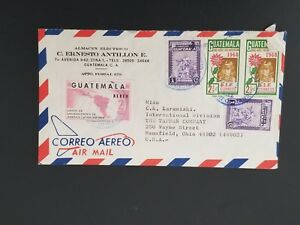 1968 Guatemala Mansfield Ohio Tappan Co Multi Franking Air Mail Business Cover