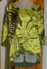 COLDWATER CREEK Bold Olive Satin Leaf Print Hi-Lo BLOUSE Knit Back 3/4 Dolman M