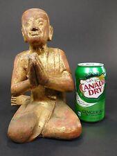 Antique Wooden Gold Gilt Buddha Sculpture Kneeling Praying Thai Statue Carved BK