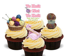 Knitting Edible Cup Cake Toppers, Standup Fairy Bun Decorations, Female Birthday