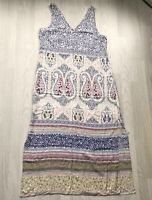 M&S Collection Paisley Print Sleeveless Maxi Dress UK 16 AE