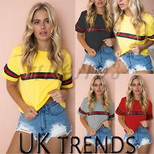 UK Womens Summer Casual Crop Top Ladies T-Shirt Slogan Graphic Stripe Tee 6-14