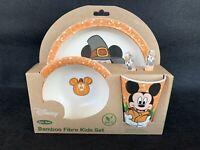 Disney Mickey Mouse Thanksgiving Childrens Dinner Set Organic Bamboo Fibre Plate