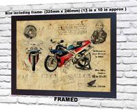 Joey Dunlop no signed da Vinci Sketch Art print patent photo poster gift Framed
