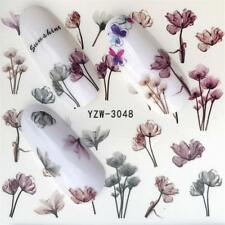 Nail Art Water Decals Stickers Transfers Winter Fall Beige Flowers Tulips Y3048