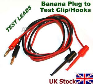 Test Leads - 4mm Banana Plug to Test Clips Hooks Multimeter 1m length - UK Stock
