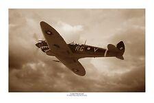 """WWII WW2 RAAF Bobby Gibbes Spitfire Sepia Aviation Art Photo Print - 12"""" X 18"""""""