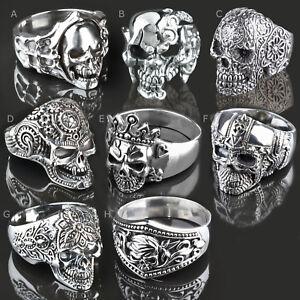 925 silver Ring Skull Men's Ring Thumb Ring Finger Ring SR37