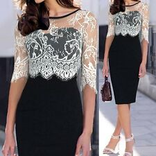 Stylish  Neck Lace Splicing 1/2 Sleeve Bodycon Sheath Dress For Women