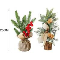 Mini Christmas Tree Xmas Decor Desktop Window Potted Plant Scene Decor CF7Z