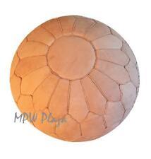 Pouf, Ottoman, Retro Shell by MPW Plaza, Sand, Un-Stuffed, Moroccan Leather Pouf