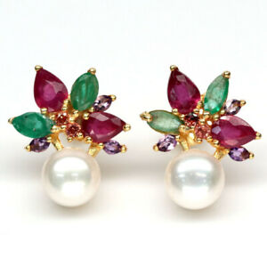 NATURAL WHITE PEARL, RUBY, EMERALD & AMETHYST 925 STERLING SILVER EARRINGS