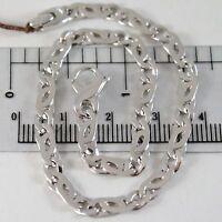 Armband aus Weißgold 750 18K, Rebhuhn Abwechselnde Bordstein, Massiv, 21 CM