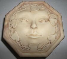 Vintage INCOLAY Stone Musical JEWELRY Box Carved Face BEIGE Reuge MEMORIES
