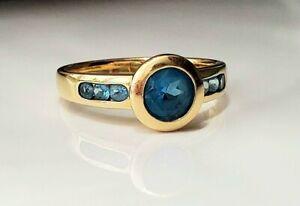 Beautiful Gypsy 14k solid yellow gold aquamarine ring- sizable
