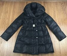 e07c6110eadc9 Via Spiga L Parka Coat Down Waterfowl Black Belted Long Puffer Cold Winter