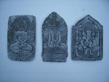 3-er Set Buddha / Ganesha Wandrelief  Steinguss  Frostfest Wetterfest Garten