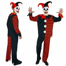 Scary Krazed Jester Evil Circus Clown Fancy Dress Halloween Costume Mens Adults