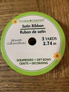 Floral Garden Satin Ribbon Green