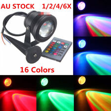 1-6 X 16Colors RGB LED Spot Light outdoor Garden Lamp 12V Waterproof 10W +Remote