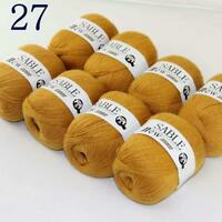 Sale 8 Skeins Super Pure Sable Cashmere Scarves Hand Knit Wool Crochet Yarn 27