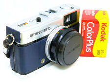 Reconditioned Olympus Trip 35 -SERVICED- FAB COND- Blue Leather & FREE FILM
