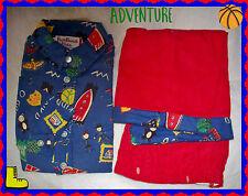 18 month Boy BLUE Print Cotton Flannel Shirt Elastic Pullon RED Corduroy Pants
