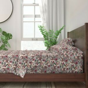 Sloths Floral Branches Pink Nursery And 100% Cotton Sateen Sheet Set by Roostery