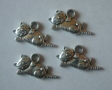 25 x Cat Kitty Charms 20x9mm Antique Silver Tone Pendentifs Crafts