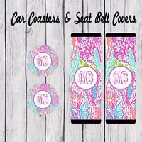 Monogram Seat Belt Pad Cover, Car Coaster, Personalized, Lilly Pulitzer Inspired